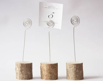 5 rustic wedding table number holder with wire, place card holder,  wedding table decor,  table number stand