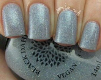Blue Grey Crelly with Micro Glitter and Glass Flecks Nail Polish -- Gray Anemone by Black Dahlia Lacquer