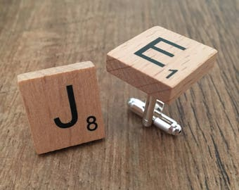 Cufflinks in wooden scrabble letter tile design (personalised)