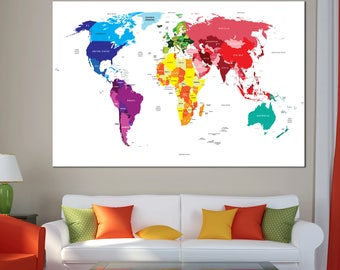 Large Detailed colorful world map canvas map art Canvas print World Map Canvas Set with countries names wall decor ready to hang