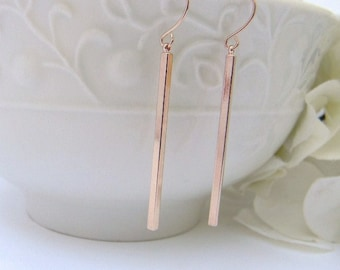 Slim Minimalist  Rose Gold Earrings- Rose Gold Skinny Bar Earrings - Simple Bar Dangle Earrings - Rose Gold Bar Earrings- Gift For Her