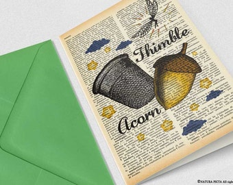 Thimble and acorn Card-Peter Pan card-love card-anniversary card-funny card-valentine card-custom card-save date-by NATURA PICTA-NPGC113
