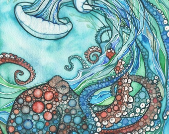 Octopus and the Jellyfish 11 x 14 print of beautiful sea theme watercolour painting, sea gypsy water baby turquoise teal earth tones artwork
