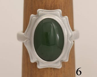 Handmade jade and sterling silver ring, size 6 jade ring, #828.