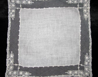 French Lace Hanky Antique Lace Handkerchief