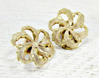 Vintage MIRIAM HASKELL Earrings, Miriam Haskell Jewelry, Gold Feather Flower Earrings, Clip-on Earrings, 1950s Costume Jewelry, Gift for Mom