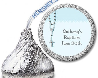 Rosary Beads Blue  - Baptism / Christening Personalized Hershey Kiss Stickers - Party Chocolate Favor Labels - 108 Stickers
