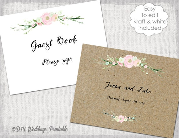 Wedding Guest Book Sign & printable guestbook cover template