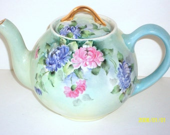 1950s Porcelain Floral Teapot Hand Painted Antique