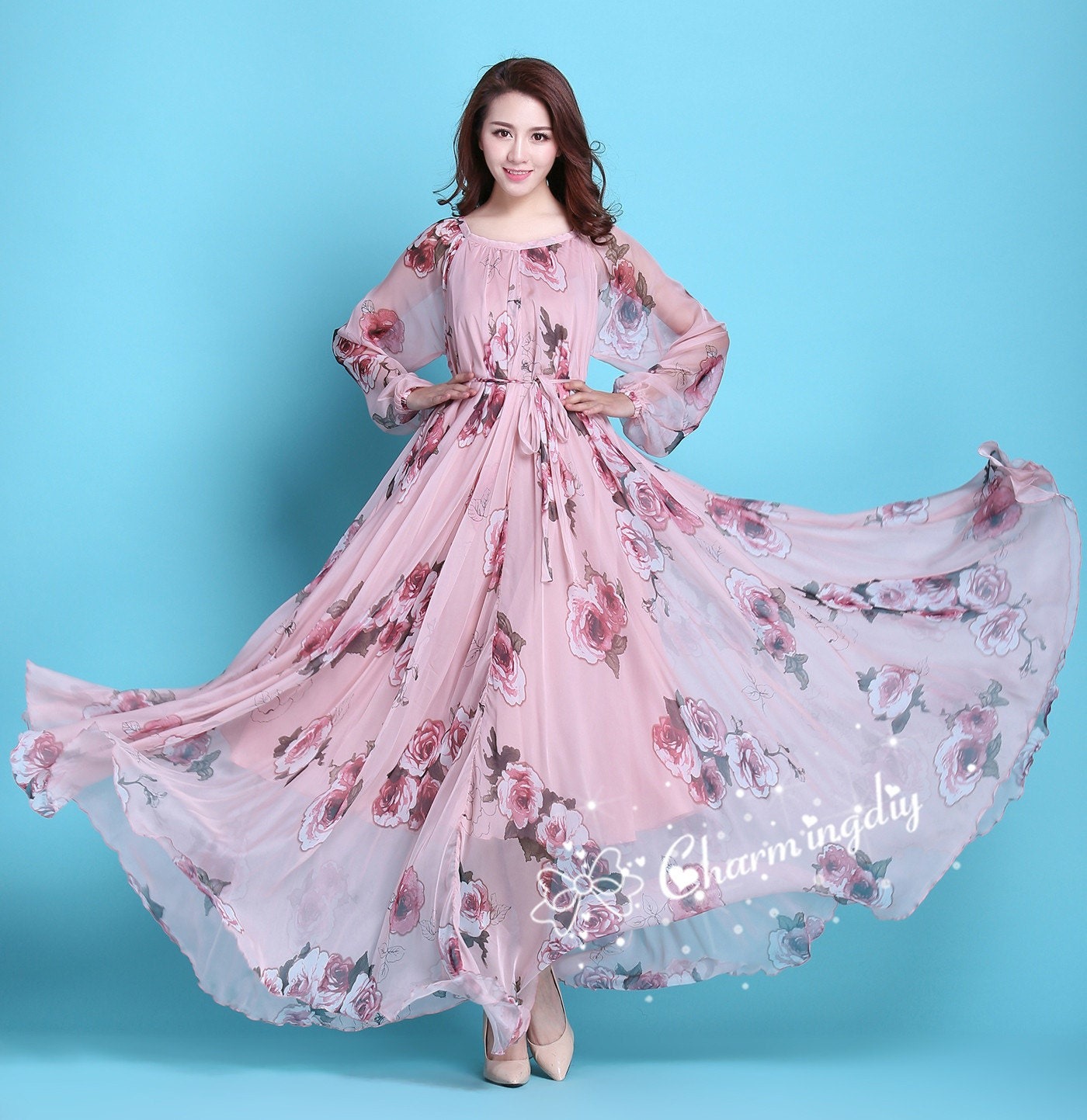 60 Colors Chiffon Pink Floral Flowber Autumn Long Sleeve Party