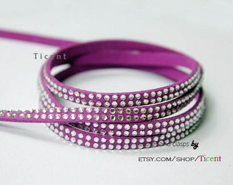 Sale 5 Yards 5mm Violet Faux Suede Leather with Clear Rhinestones, 2 Lines of Clear Stones RHE1085