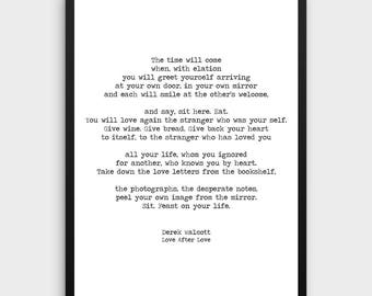 Derek Walcott Print | Love after Love, Love Poem Print, Poem Print, Literature Art, Literature Print, Book Art, Typewriter Quote Prints