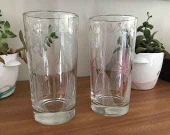 Pale Pink Starburst Highball Glasses