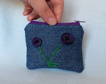 Recycled Blue Jean Coin Purse with Purple Button Flowers