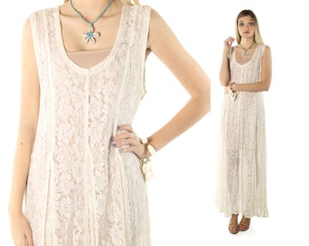 Vintage 90s Sheer Lace Dress Sleeveless Ivory Full Tea Length Skirt 1990s Large L Essa Donna