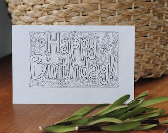 Happy Birthday Printable Card Coloring Page