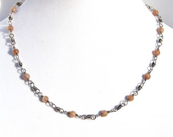 Sunstone necklace, handmade sterling silver 20 inch chain with sunstone beads