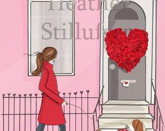 CUSTOM LISTING for CATHERINE February Stroll - Heather Stillufsen - Valentine Card - Weekend - Art - Print - Fashion Illustration