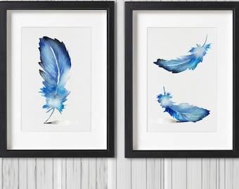 Feather Art Print Set 2 Watercolor Blue Feather Home Decor Blue Feather Watercolor Painting Feather Wall Art Original Gift Idea