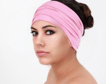 Rose Pink Turban Head Band, Yoga headband, Wide Headband, Exercise Headband, Pretied Turban 298-09a