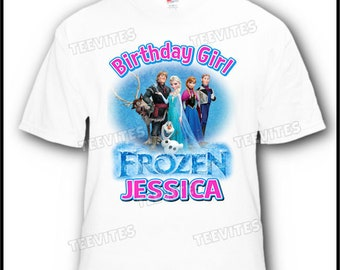 Personalized Disney Frozen Olaf Anna Elsa Flynn Hans Birthday Girl T-Shirt