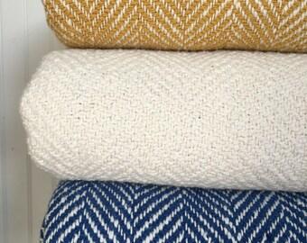 White Woven Blanket Herringbone Throw Cream Throw
