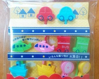 Cute Transportation Vehicles Cupcake Topper & Food Decoration Bento Picks - Car, Plane, Ship, Bus, Hot-air Balloon