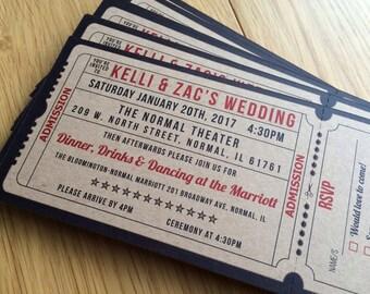 50 Vintage Kraft card Movie Wedding Invitations / Cinema ticket / Film Ticket Wedding Invitations / Theater Wedding