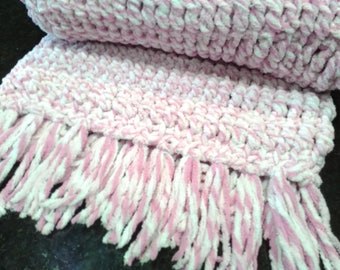 FREE Shipping! Pink and White Chenille Crochet Blanket with Fringe