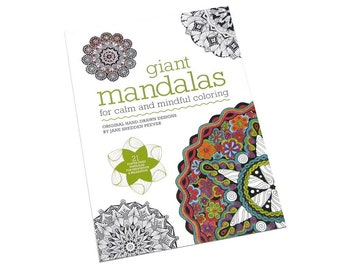Brand New GIANT MANDALAS Coloring Book by Jane Snedden Peever- 21 Poster-Sized Designs