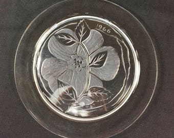 Lalique Crystal Plate, Rose Crystal Luncheon Plate, French Glass, Lalique Annual Plate, Crystal Collector Gift, 1966 Dream Rose by Lalique