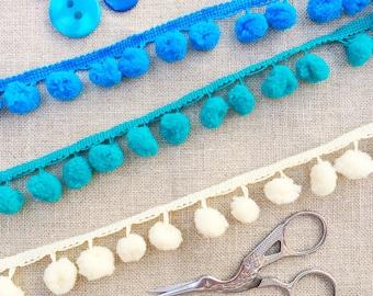 Pompom trim. in Cobalt Blue, Teal & Cream