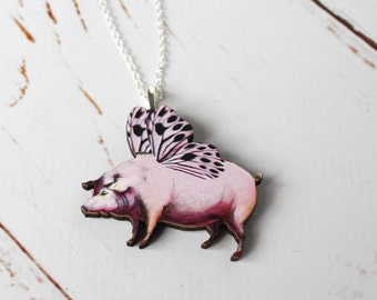 Flying Pig Necklace/ Vintage  pendant nexklace/ Pigs Might Fly Wooden Kitsch Jewellery