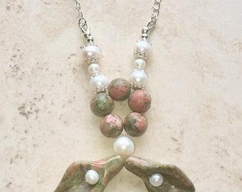 Unakite & Cultured Pearl Sterling Silver Necklace, Unakite Necklace, Pearl Necklace, Real Pearls, Wiccan, Pagan, Crystal Healing