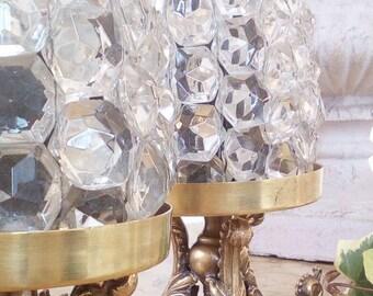 SALE!! PaIR RARE Crystal&brass antique italian table/bed lamps,wedding present,shabby chic,chandelier,candelabra,girandoles,vintage