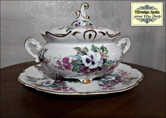Sopera de porcelana, Bonita sopera de porcelana con bandeja, Sopera grande, Sopera floral con tapa, Servicio de mesa, Sopera con filo de oro