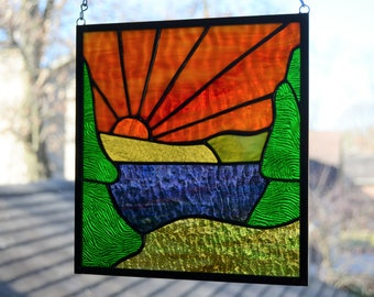 Stained glass mountain lake with sunset 8.5 x 9.5