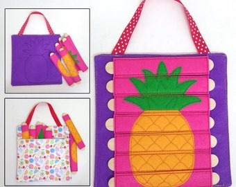 Pineapple Stick Puzzle with Zipper Bag. Popsicle Puzzle, Busy Bag. Preschool, Toddler, Quiet Toy, Gift