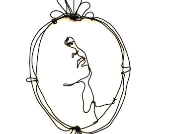 Wire art, girl face, Wall sculpture portrait, sophisticated girl, wire wall frame, home decor, cool portrait, gift idea