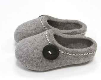 Hand Felted Slippers for Everyone.  Gray  with Lucky button. Made to order.