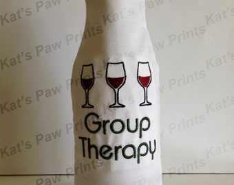 Embroidered Wine Bottle Cover / Group Therapy