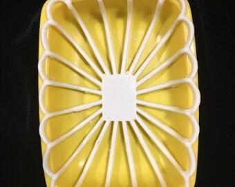 Vintage soap dish, yellow soap dish