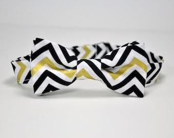 Men's Bow Tie - Black and Gold Chevron Bowtie
