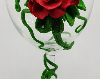 Decorated Rose Glass
