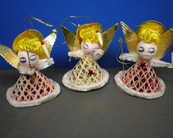 Mid Century Christmas Ornaments - Three Blonde Angels