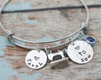 Personalized Bangle, Choose Your Hobby, Sewing, Knitting, Biking, Dancing, Photography, Music, Theater, Gymnastics Hand Stamped Bracelet