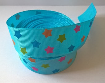 1 Yard Of Blue Grosgrain Ribbon With A Star Design Width 1 Inch
