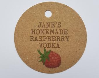 10x Personalised Homemade raspberry vodka tags, handmade tags, bottle tags, homemade raspberry tags, homemade tag, homemade labels, label