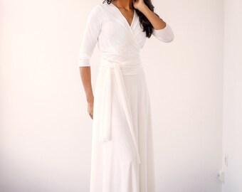 Wedding wrap dress, wedding dress, long wrap dress, long white dress with sleeves, long sleeved wedding dress, white long sleeves wrap dress