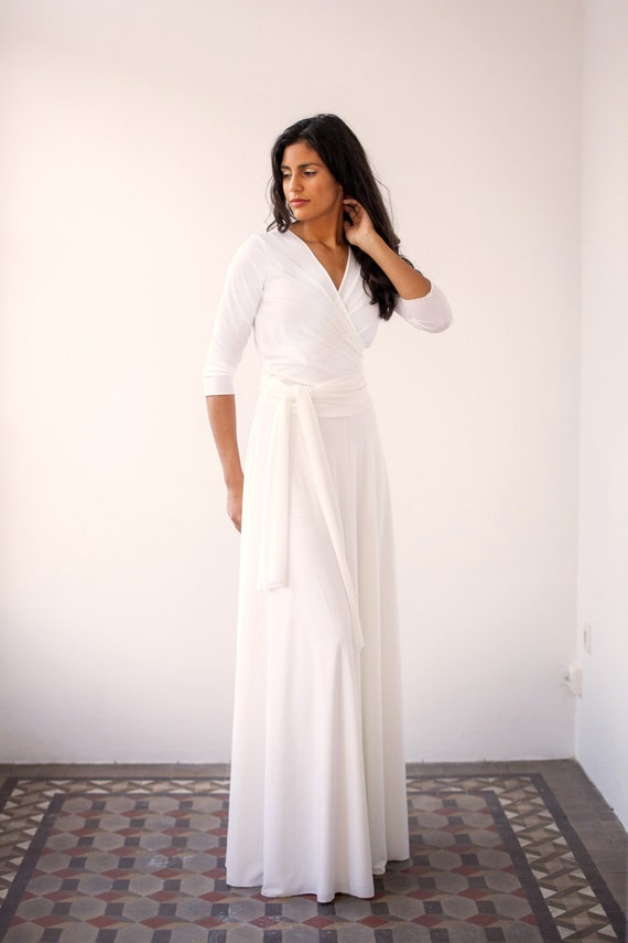 Wedding wrap dress wedding dress long wrap dress long white